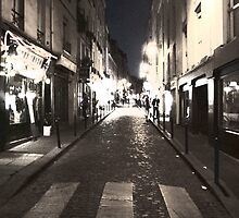 Rue Mouffetard at night by Andy Duffus
