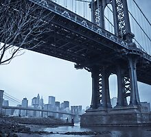 Manhattan Bridge and Brooklyn Bridge over East River. New York City. by Alan Copson