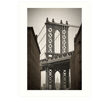Empire State Building through arch of Manhattan Bridge Art Print