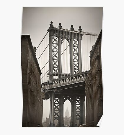 Empire State Building through arch of Manhattan Bridge Poster