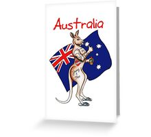 Possibly the best Australia or Austrlia Day Shirt design ever! Go the thumbs up tattooed kangaroo! Greeting Card