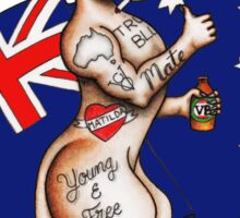 Possibly the best Australia or Austrlia Day Shirt design ever! Go the thumbs up tattooed kangaroo! Sticker