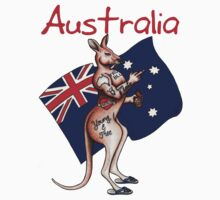Australia Flip Off Salute Tattooed Kangaroo Design by vonschloss