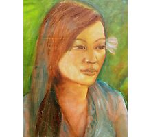 Balinese girl with Frangipani in a garden Photographic Print