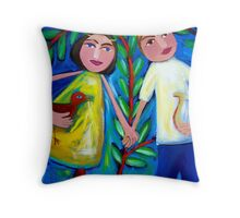 ORPHEUS  AND  EURYDICE  DANCING  WITH  THE  LOVEBIRD Throw Pillow