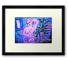 lady with a cat Framed Print
