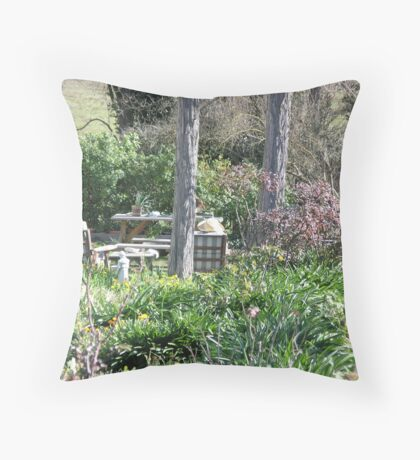 Thinking in the Garden (Sun Hat) Throw Pillow