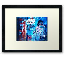 A girl with a Dove  Framed Print