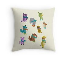 sad and indifferent animals wearing scarves Throw Pillow
