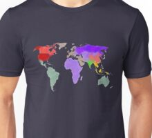 Colorful world map in water color Unisex T-Shirt