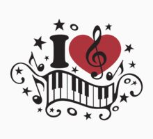 I LOVE MUSIC HEART, Piano, Music Notes, Clef, Bass, Sound One Piece - Long Sleeve
