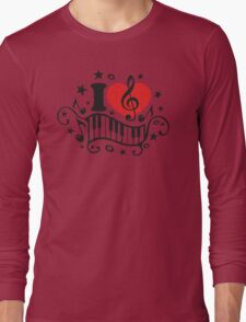 I LOVE MUSIC HEART, Piano, Music Notes, Clef, Bass, Sound Long Sleeve T-Shirt