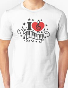 I LOVE MUSIC HEART, Piano, Music Notes, Clef, Bass, Sound Unisex T-Shirt