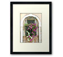 Petunias Through Wrought Iron Framed Print