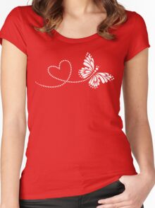 Butterfly, Heart, Forever Love, Valentine´s Day Women's Fitted Scoop T-Shirt