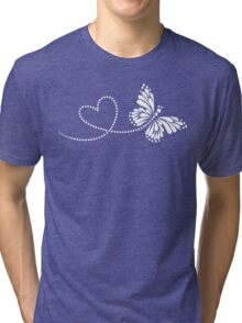 Butterfly, Heart, Forever Love, Valentine´s Day Tri-blend T-Shirt