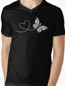 Butterfly, Heart, Forever Love, Valentine´s Day Mens V-Neck T-Shirt