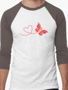 Butterfly, Heart, Forever Love, Valentine´s Day Men's Baseball ¾ T-Shirt