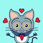 Odd cat showing hearts and feeling crazy in love by Zoo-co