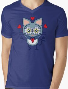Odd cat showing hearts and feeling crazy in love Mens V-Neck T-Shirt