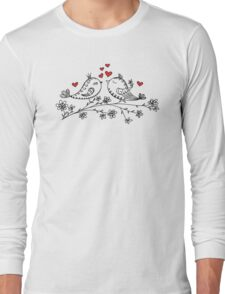 LOVE BIRDS, VALENTINE`S DAY, HEARTS, COLOR Long Sleeve T-Shirt