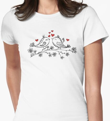LOVE BIRDS, VALENTINE`S DAY, HEARTS, COLOR Womens Fitted T-Shirt