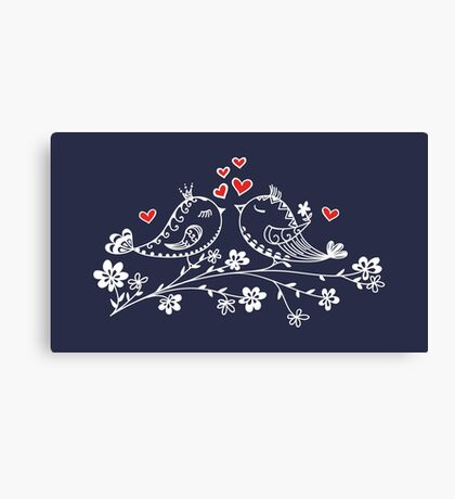 LOVE BIRDS, VALENTINE`S DAY, HEARTS, COLOR Canvas Print
