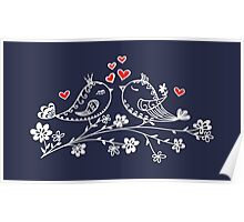 LOVE BIRDS, VALENTINE`S DAY, HEARTS, COLOR Poster