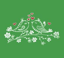 LOVE BIRDS, VALENTINE`S DAY, HEARTS, COLOR One Piece - Short Sleeve