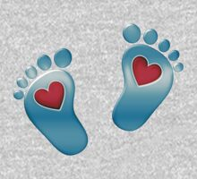 Baby feet with heart One Piece - Long Sleeve