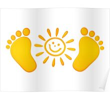 Baby feet with sun Poster