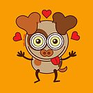 Funny dog showing hearts and feeling lucky in love by Zoo-co