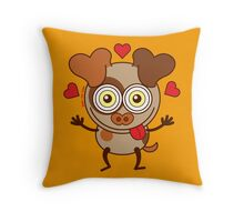 Funny dog showing hearts and feeling lucky in love Throw Pillow