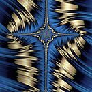Blue and Gold Cross Abstract by John Edwards