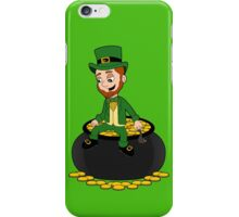 Cartoon leprechaun sitting on a pot of gold iPhone Case/Skin