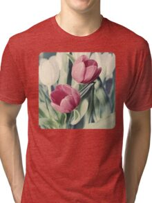 Twin Tulips in Pastel Pink Tri-blend T-Shirt