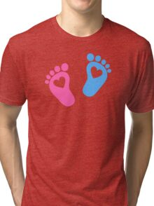 Baby feet with hearts Tri-blend T-Shirt