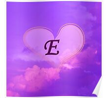 Heart with Monogram E Poster