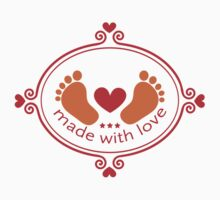 Made with love, baby feet with heart Kids Clothes