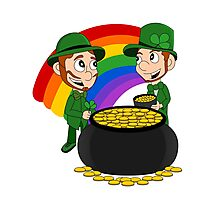 Cartoon leprechauns with pot of gold Photographic Print