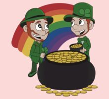 Cartoon leprechauns with pot of gold Kids Clothes