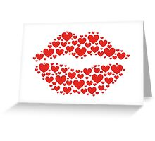 KISS LIPS WITH HEARTS, Valentine`s Day Greeting Card