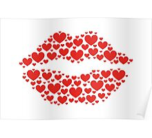 KISS LIPS WITH HEARTS, Valentine`s Day Poster