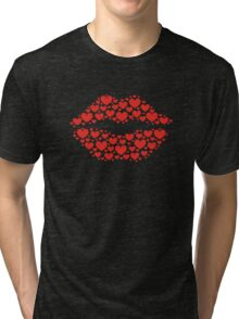 KISS LIPS WITH HEARTS, Valentine`s Day Tri-blend T-Shirt