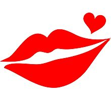 LIPS WITH HEART, Valentine`s Day Photographic Print