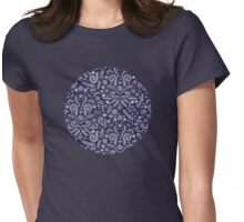Chalkboard Floral Doodle Pattern in Navy & Cream Womens Fitted T-Shirt