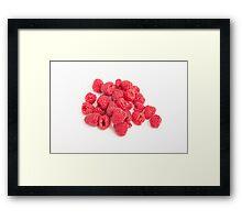 Red Raspberries on White Framed Print
