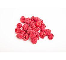 Red Raspberries on White Photographic Print