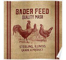 Burlap Vintage Like Chicken Feed Sack Poster