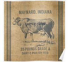 Burlap Vintage Like Dairy Feed Sack Poster